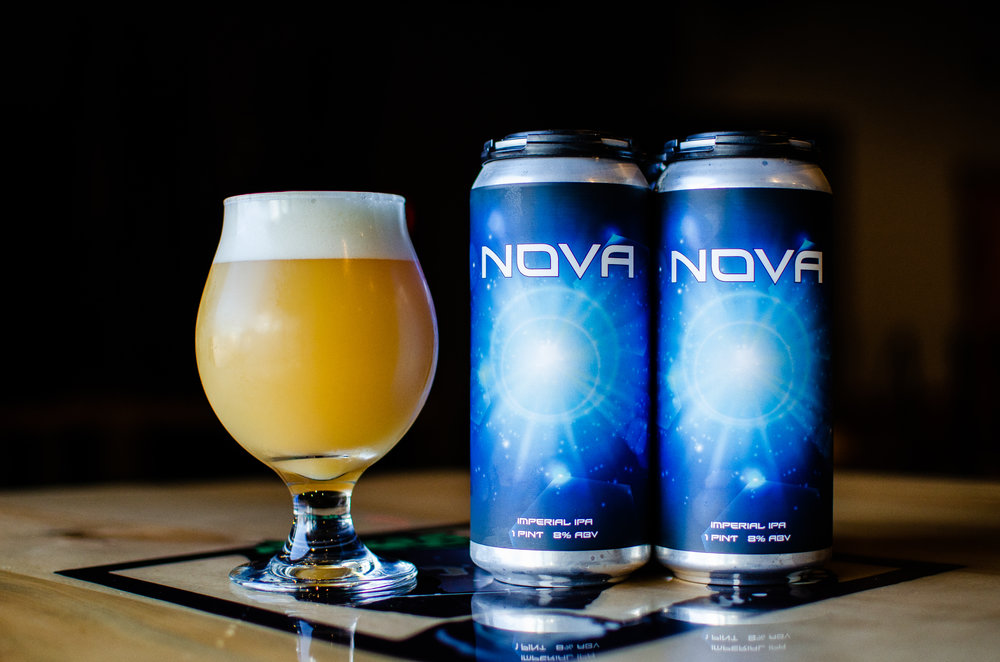 Nova, DIPA, 8% - The orange and candied papaya reminds us of the Starburst candy we loved as children. This beer is crisp and drinkable. Nova is another juicy double IPA we can't wait to share with you, cheers!
