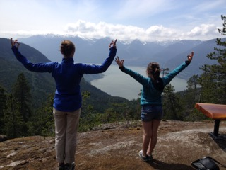 Family yoga - Sea to Sky Gondola summit, Squamish