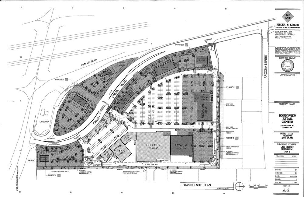 The retail shopping center in development on Bonnyview and Churn Creek Rd is planned for a grocery anchor with a handful of other retail stores.