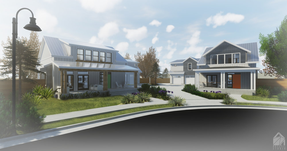 Shiloh Park - Phase 1 Renderings (Lots 4 and 5) with modern farmhouse style homes and large front porches.