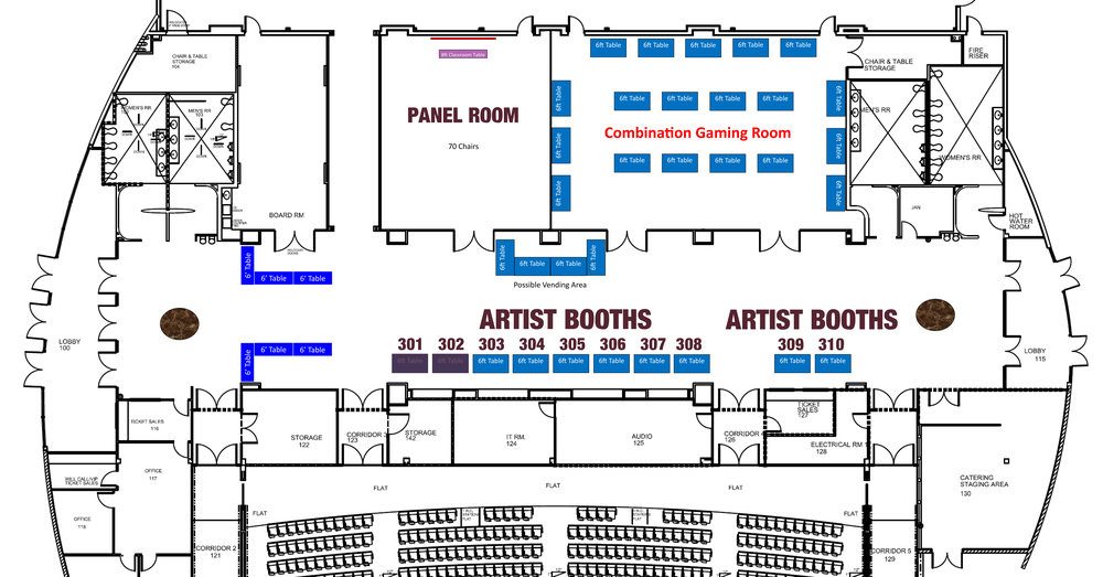 The Artist Alley sits in the lobby of the conference center. Please do not be making your art on site, have everything prepared before the event. Thank you!