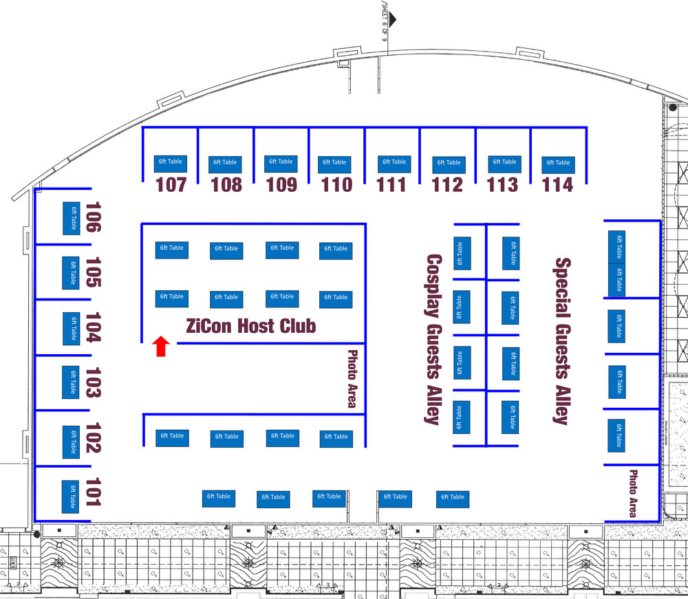 1xx sets of exhibitor tables are 10x10 and include pipe and drape.