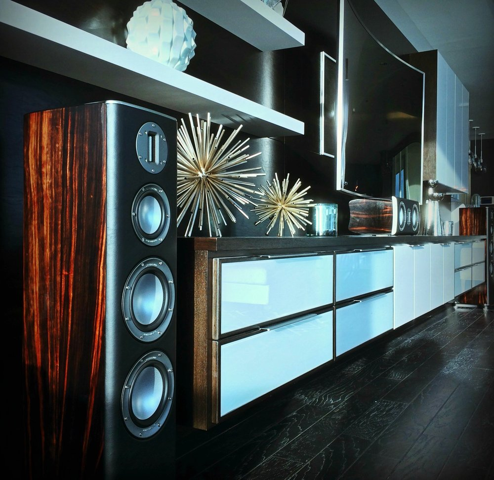 When the setting Caribbean sun hits the ebony wood finish of your Monitor Audio Platinum Series Home Theater