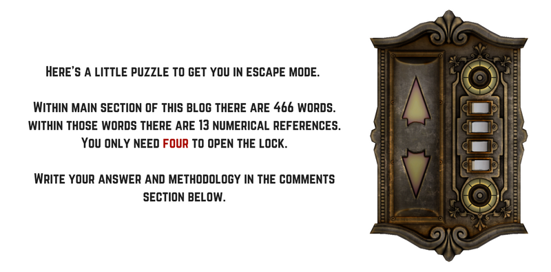 Here's a little puzzle to get you in escape mode.  Within main section of this blog there are 466 words. Within those words there are 13 numerical references. You only need four to open the lock.  Write your answer and methodology in the comments section below.