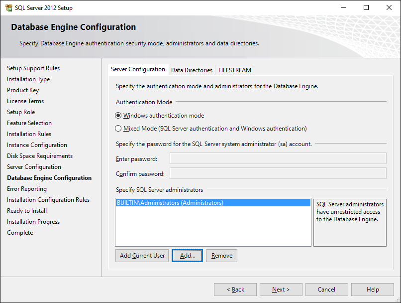 SQL Server Setup: Security Configuration