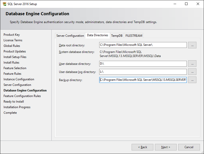 SQL Server Setup: Data Directories