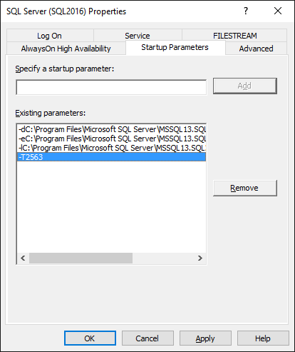 Adding Trace flags to SQL Server