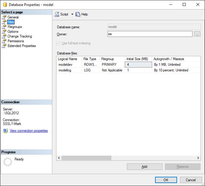 Bad database file setup -- default, through SQL 2014
