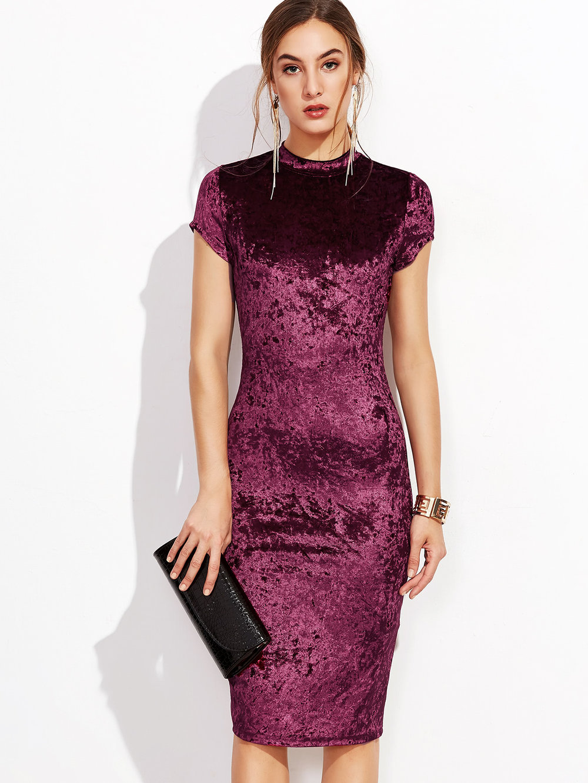black friday sales shein velvet mock neck bodycon dress