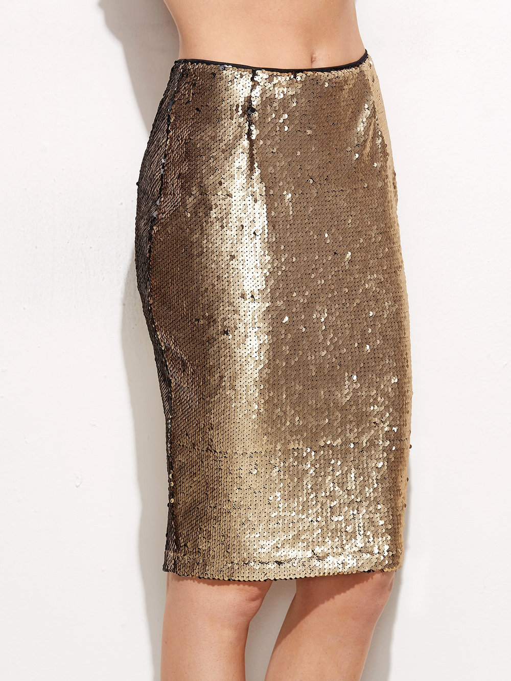 black friday sales shein gold sequin pencil skirt