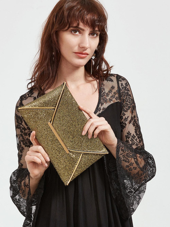 black friday sales shein gold envelope clutch