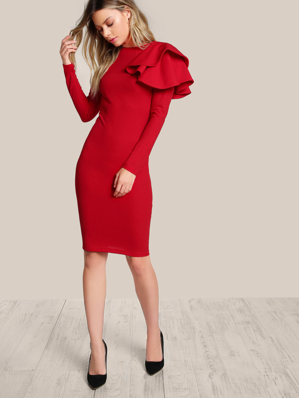 black friday sales shein ruffle red statement bodycon dress