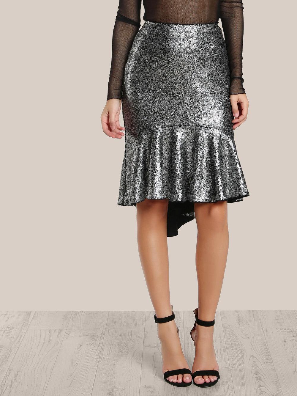 black friday sales shein silver sequin skirt