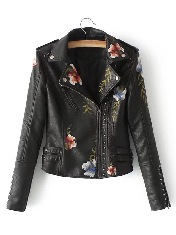 black friday sales shein floral leather jacket