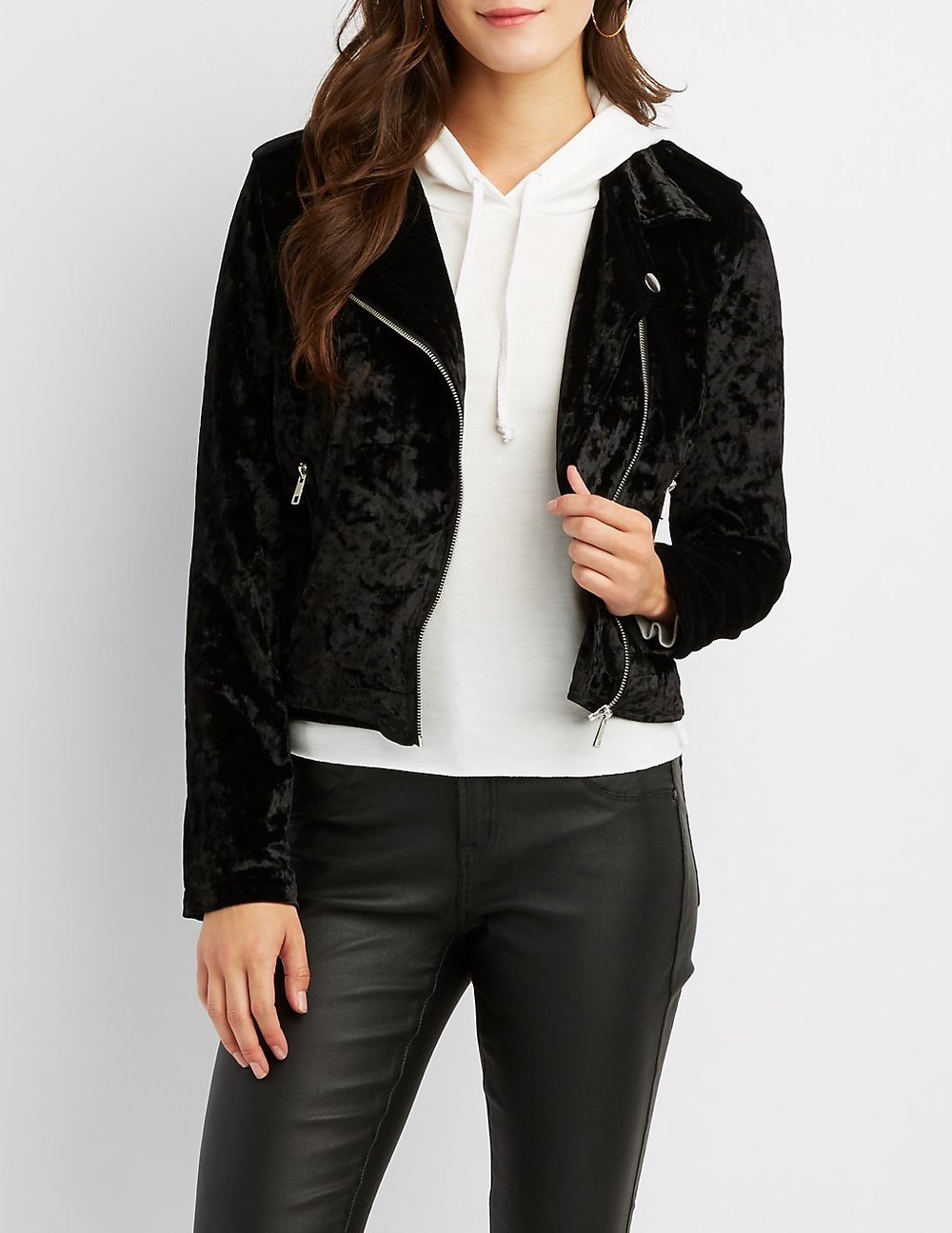 black friday sales charlotte russe black velvet motto jacket