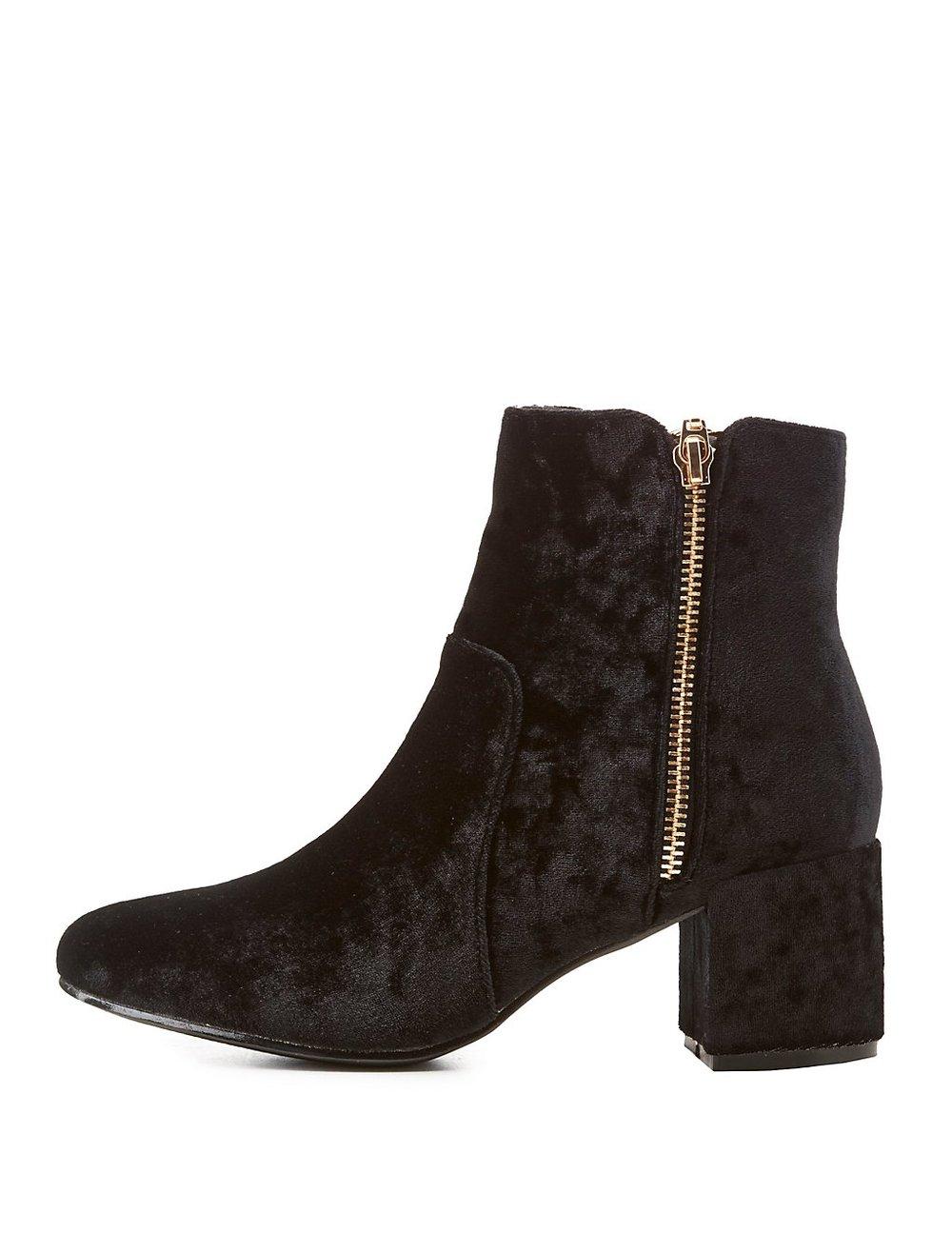 black friday sales velvet zip booties