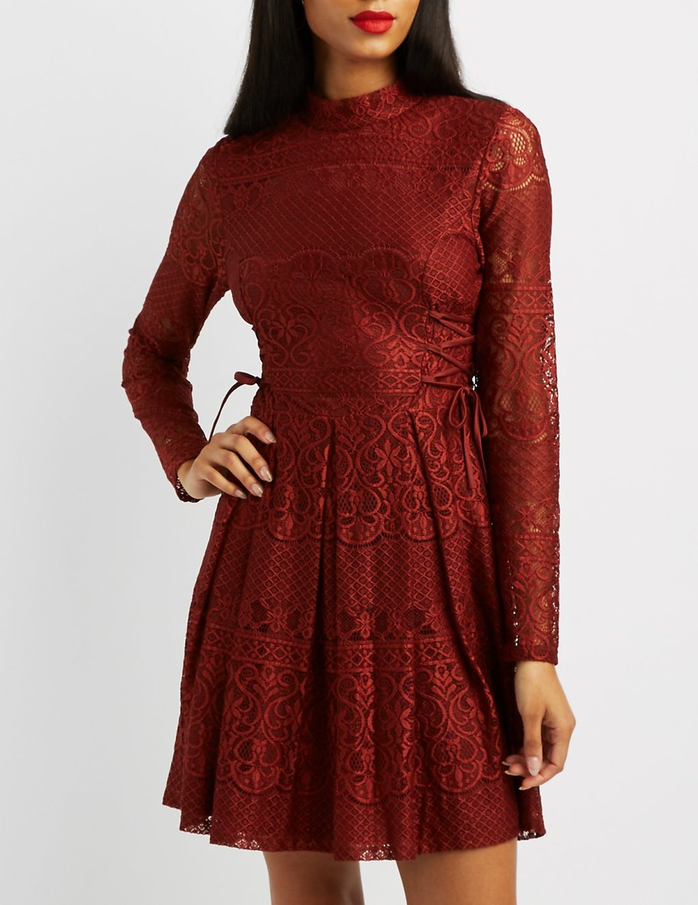 black friday sales charlotte russe rust lace dress