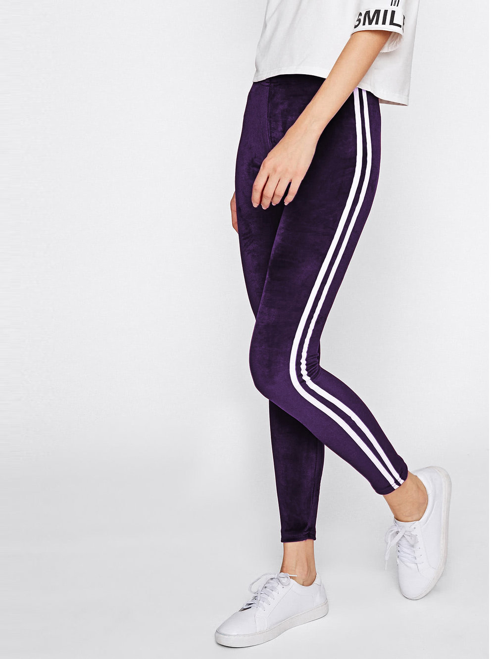 cyber monday sales romwe purple velvet leggings striped.jpg