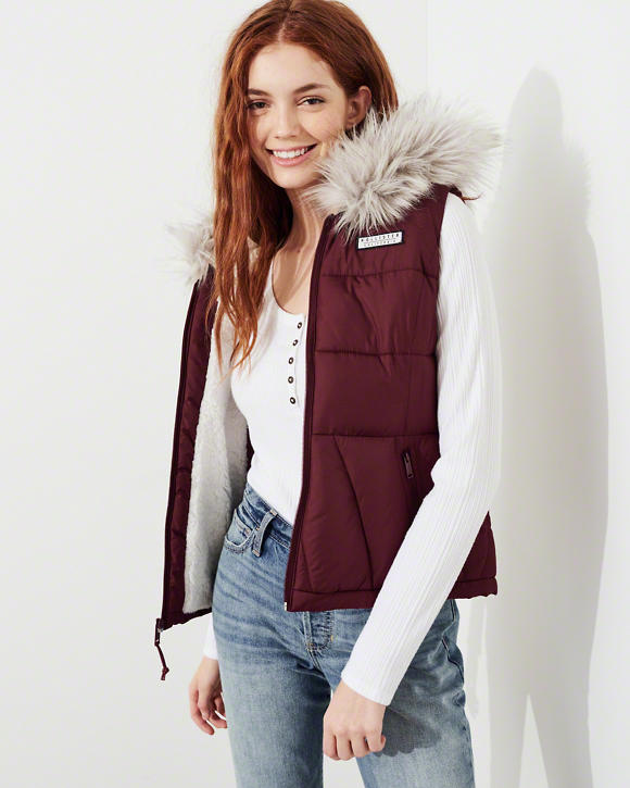 cyber monday sales hollister maroon fur lined puff vest.jpg