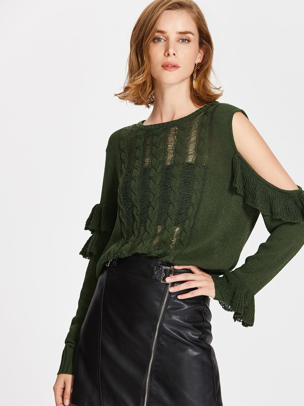 cyber monday sales shein green ruffle cold shoulder sweater.jpg