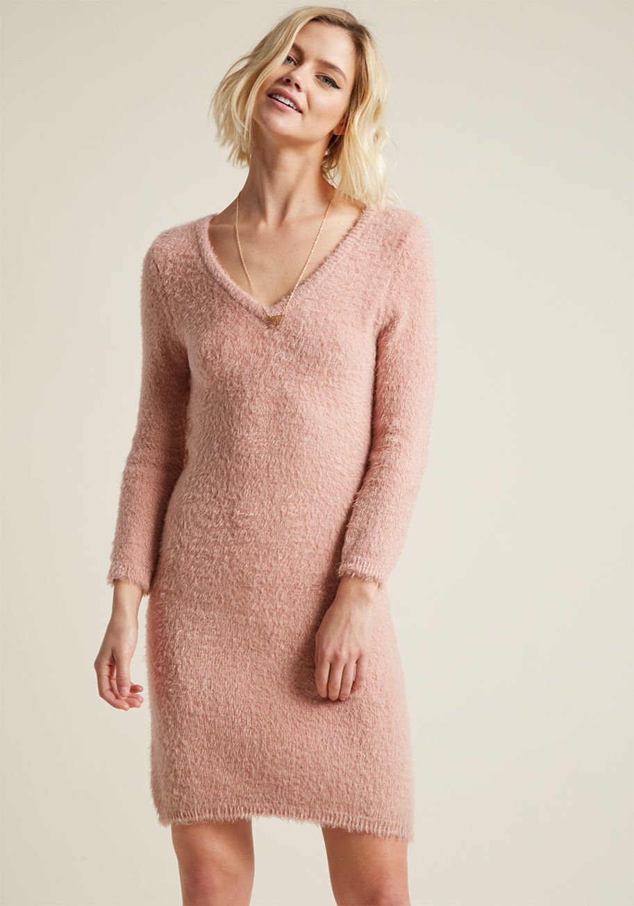 cyber monday sales mod cloth pink fuzzy sweater dress.jpg