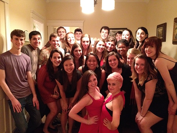 The Touchtones pose with The Northeastern UniSons, Simmons Sirens, and BU Sweethearts at the charity concert after party