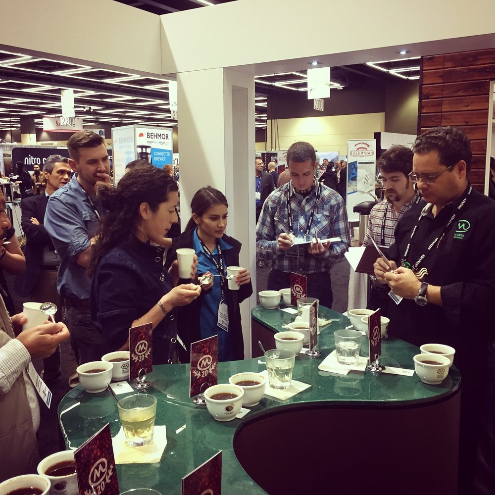 Cupping with Katia at the Mercanta booth.