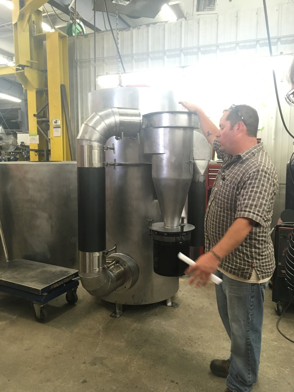 Chaff cyclone and oxidizer in production at Diedrich Roasters.