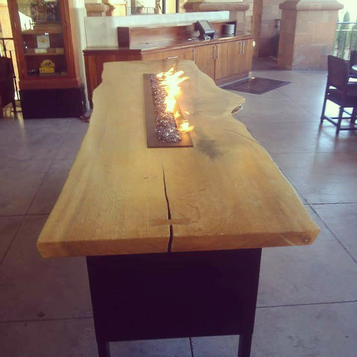 Bar Height Live-Edge Fire-pit Table