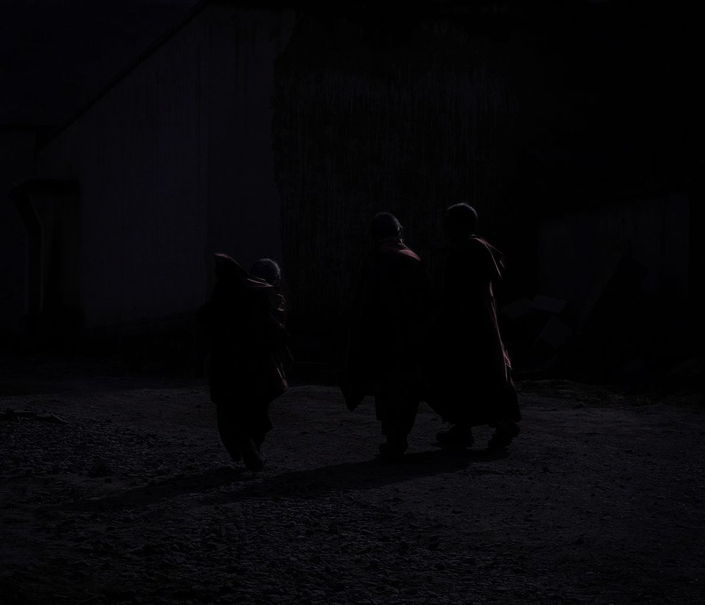 Moonlight Monks, 2003, Xiahe County, Gansu  - 40 x 40cm, Platinum Lustre Rag, Edition of 5. No. 1 available