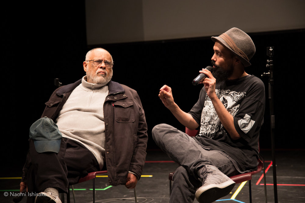 Haile Gerima and Gabriel Teodros at Langston Hughes Performing Arts Institute (Seattle, WA). April 22, 2016. Photo by Naomi Ishisaka.