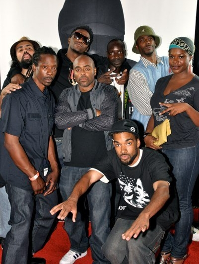 L-R: Gabriel Teodros, Silas Blak, Spaceman, Jonathan Moore, Yirim Seck, Zeta Barber, Vitamin D, Choklate. (Photo taken at the release party for Yirim Seck's Hear Me Out LP, 2009)