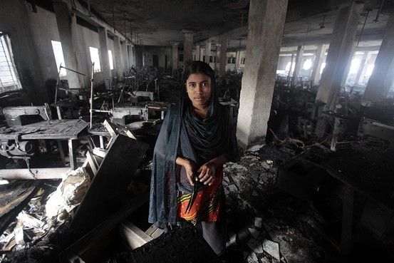 Photo by  Wall Street Journal after a factory fire in Bangladesh