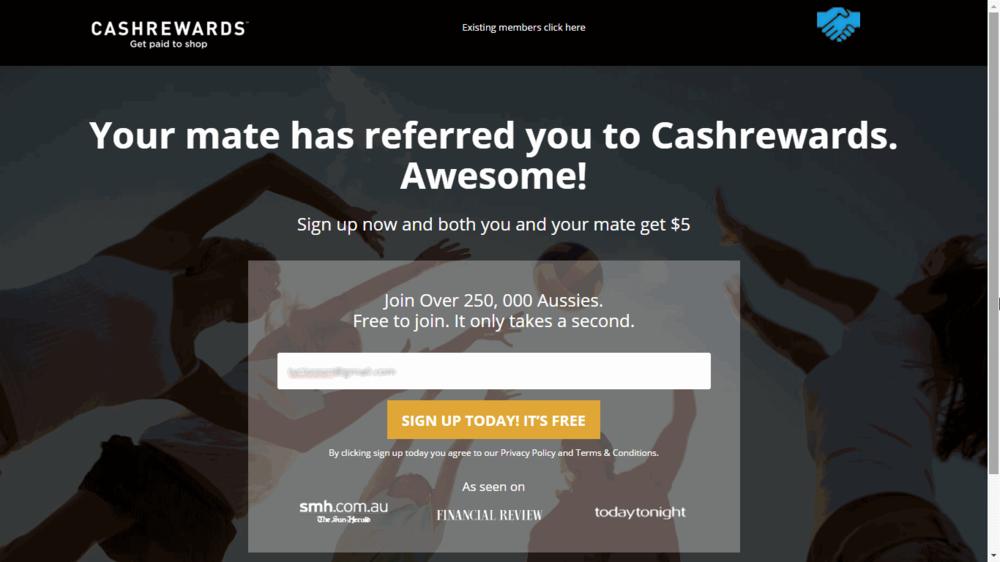 Cashrewards Sign-up page
