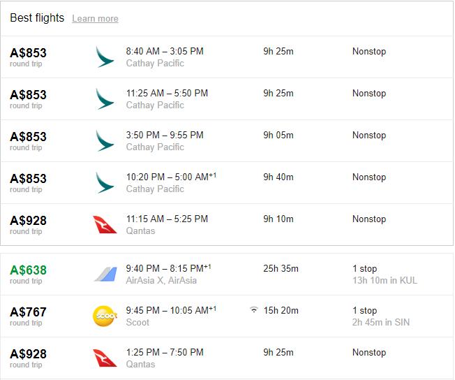 SYD-HKG Economy Class, 15 Feb - 22 Feb using Google Flights