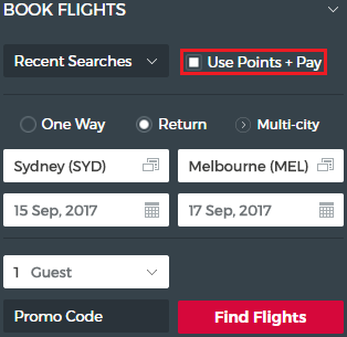 "Ensure ""Use Points + Pay"" is selected, otherwise you will be shown cash fares"