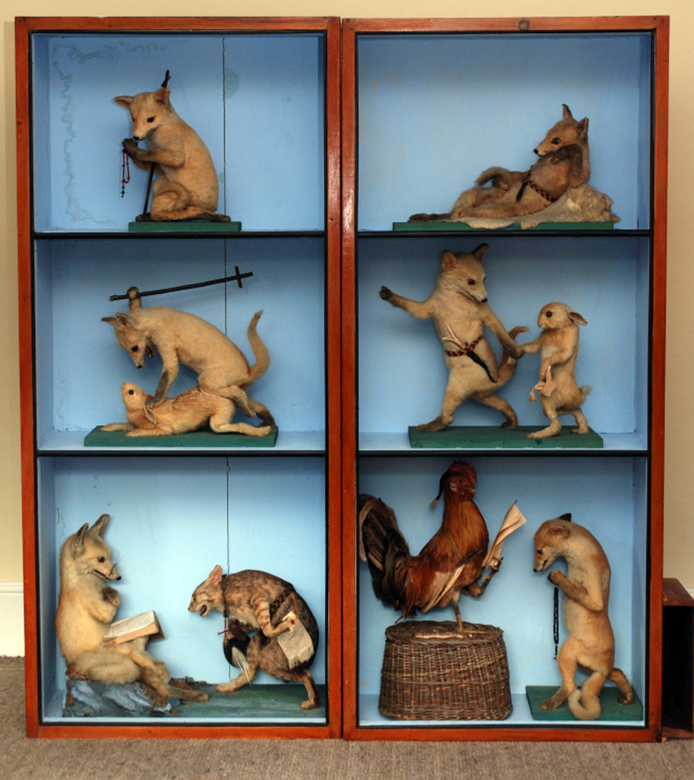 Reineke Fuchs (Reynard the Fox  ) (ca. 1850), Hermann Ploucquet. Taxidermy and mixed media. Private collection. Photo courtesy of Pat Morris.