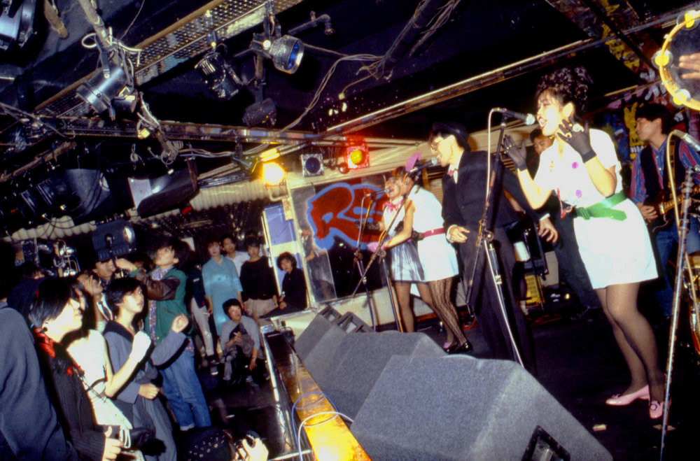 Scooters performing at Tsubaki House with guest vocalist S-Ken, Tokyo, Sept 28, 1983.