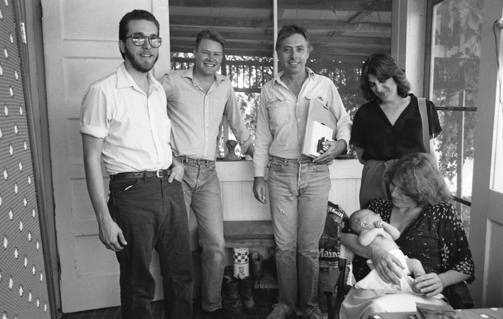 Left to right: Tom Nixon, Gene Bowen, Harold Budd, Harold's then-wife; seated: Pam Sheridan holding Gene and Pam's baby. Fillmore CA, 1981.