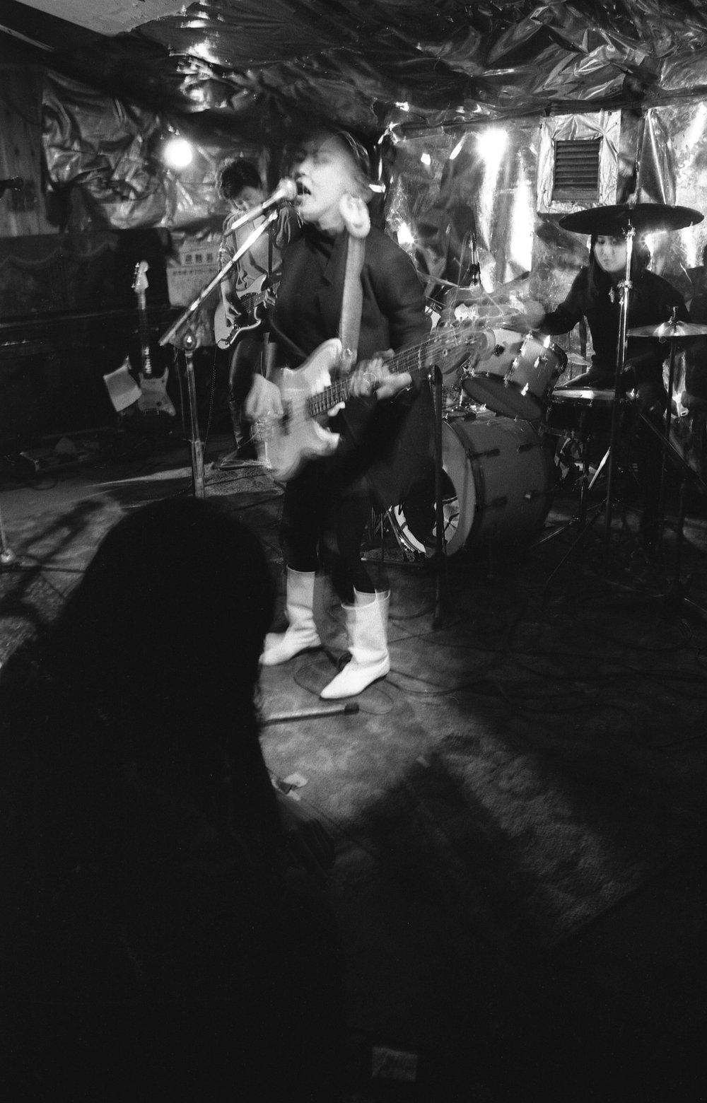 "Tokyo, 1980. All-girl band called ""Boys Boys."" Club Yane-ura, Shibuya-ku."