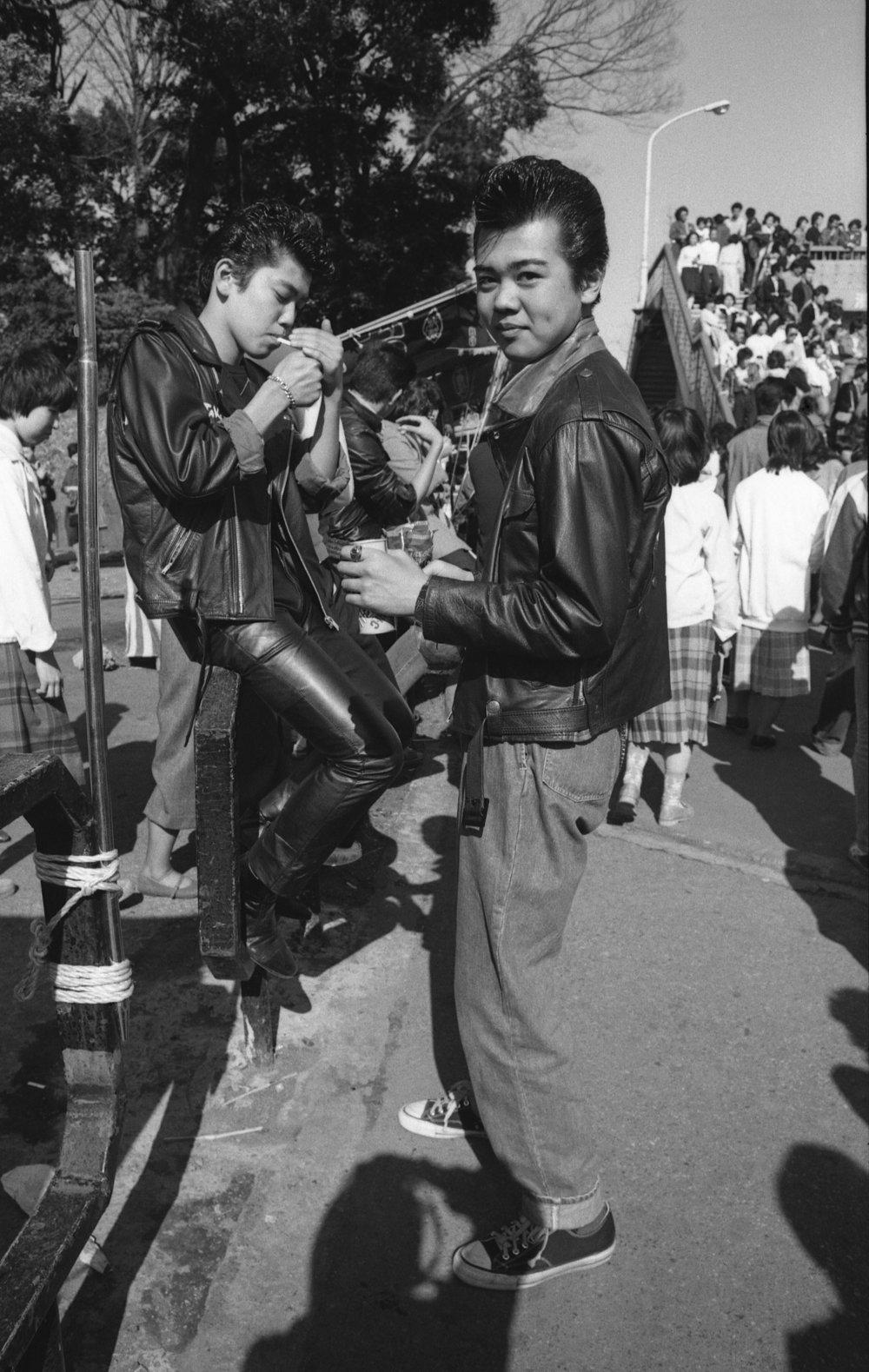 Rokabiri-zoku, Harajuku, Tokyo. April, 1980. (1/3)