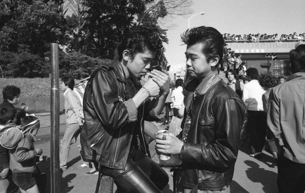 Rokabiri-zoku, Harajuku, Tokyo. April, 1980. (2/3)