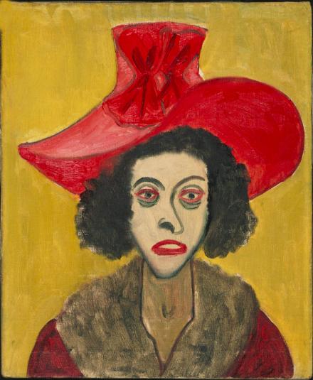 Alice Neel,  Woman in Pink Velvet Hat , 1944. Philadelphia Museum of Art. Gift of the estate of Arthur M. Bullowa, 1993-119-3. © Estate of Alice Neel.