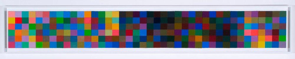 "Sedona. oil on canvas, 10 panels framed, 12"" x 90"""