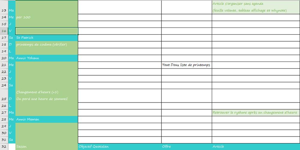 Extrait de mon précédent calendrier éditorial sur Excel: on retrouve des colonnes pour le site, le blog et les réseaux sociaux. En fonction de l'actualité du moment on visualise facilement ce sur quoi communiquer et on évite les doublons sur les différents réseaux.
