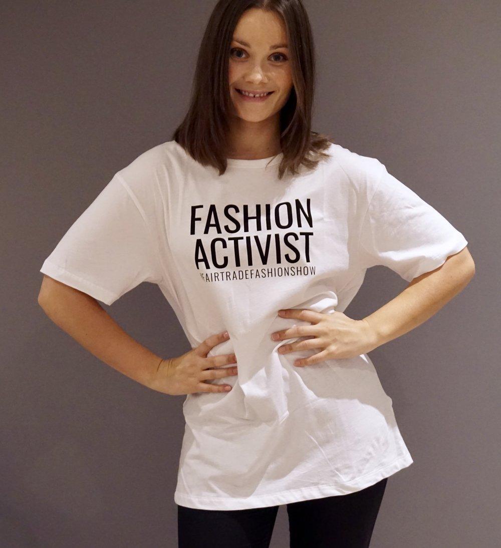 Hanna Pumfrey wearing Bead & Reel fashion activist t-shirt