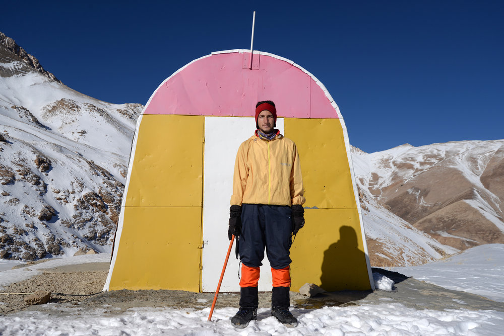 Afshin, a 23 years old guy from the village is the only winter guide for mountaineers and skiers who visit Dena. He directed us from the village to the refugee