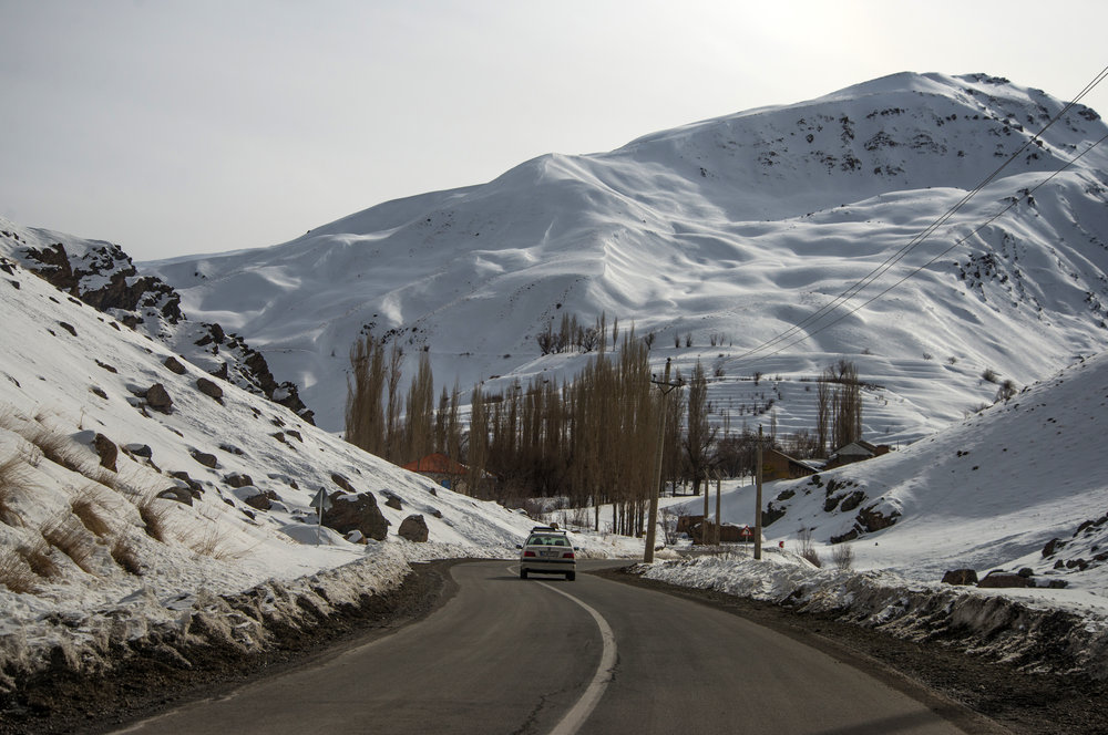 Road towards ski resorts in the North of Tehran