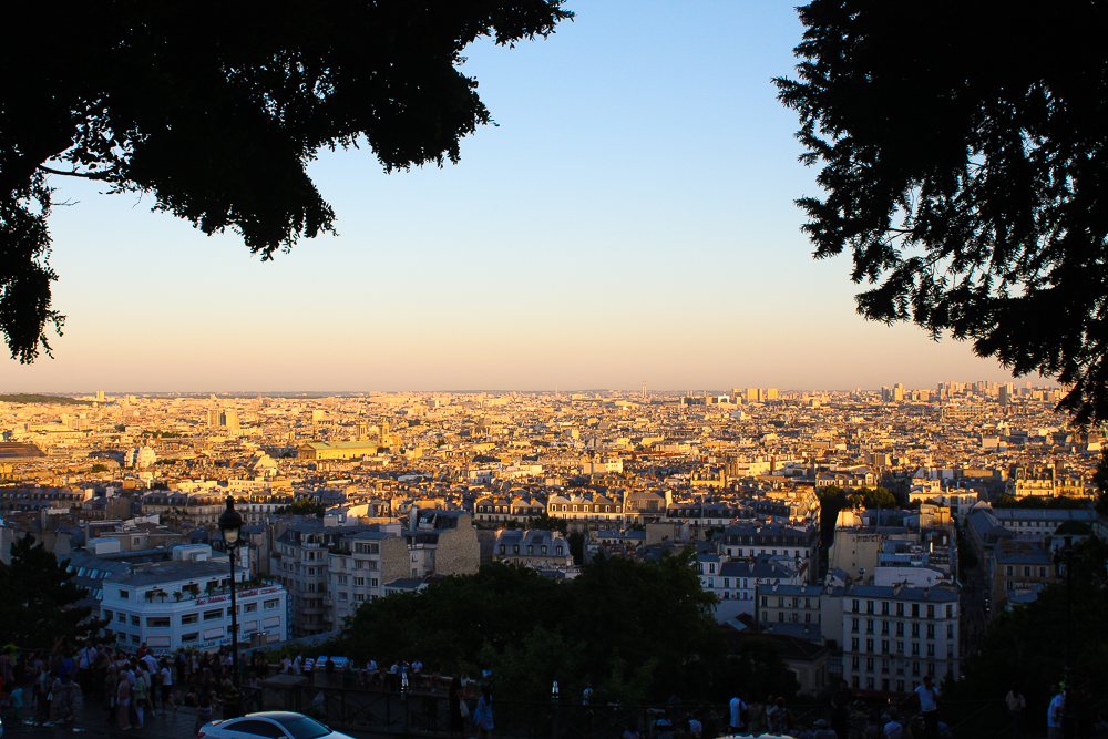 Watching a golden light set over Paris from Sacre-Coeur