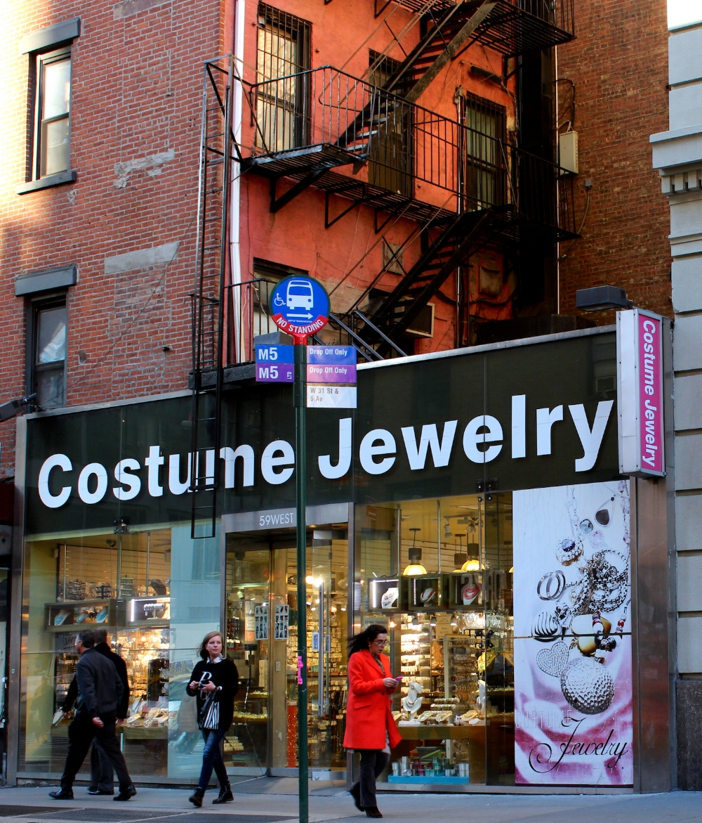 Though their numbers have diminished dramatically over the past decade, this corner of Midtown is still home to jewelry and fashion accessory wholesalers, like the former B.R. Fashion.